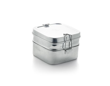stainless steel lunch box.  Two layer square
